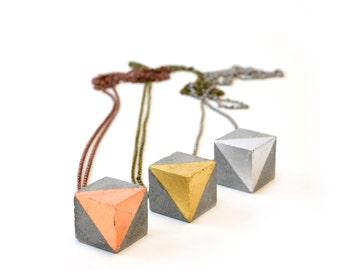Concrete necklace with copper cube / Concrete cube  / Concrete square / Cement jewelry
