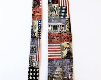 Washington DC Silk Necktie, Congress Lincoln American Flag Liberty Bell, Eagles Wings, Patriotic Necktie, History Teacher, Civics Politics