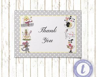 Nursery Rhymes Thank You Cards | Printable PDF or JPEG | Instant Download | Templett | BSI374GrayTY