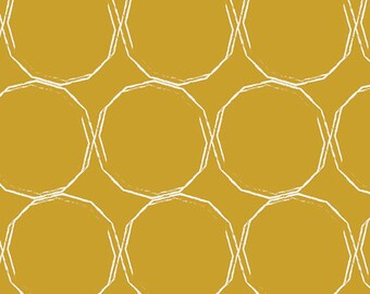 Essentials II by Pat Bravo for Art Gallery Fabrics - Hula Hoops Gold - Cotton Woven Fabric