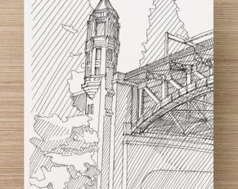 Ink Sketch of Montlake Bridge in Seattle, Washington - Drawing, Art, Engineering, Draw Bridge, Steel, Architecture, Pen and ink, 5x7, 8x10