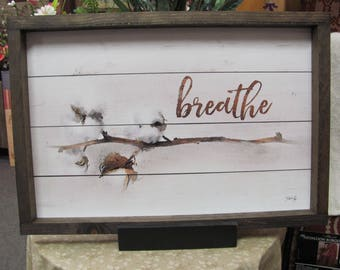 Cotton, Cotton Stem Breath,Rustic Frame,Framed Art Sign,Marla Rae,19x13