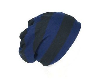 Men's Slouch Hat Royal Blue and Black Stripe Slouchy Beanie Women's Slouchy Hat Jersey Slouchy Beanie Reversible Hat Lightweight Slouch Hat