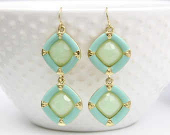 Two Tone of Mint Color Earrings, Bridal Earrings, Bridesmaid Earrings,Modern Mint Earrings, Bridal Shower Gift  ER14