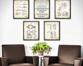 medical office decor. Doctors Office Decor SET OF 5 - Anesthesiologist Gift Nurse Anesthetist Medical Art E