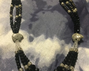 Black Beaded Bear Necklace