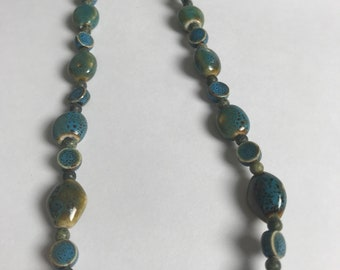"""Blue/green beaded necklace 18"""""""