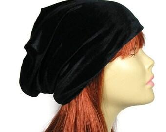 FREE SHIPPING Glam Goth Boho Velvet Beanie Custom Size Black Velvet Slouchy Beanie Hair Loss Turban Chemo Cap Black Velvet Hat Womans Glam