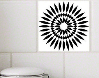 Sunflower Black RETile Decal - White Background