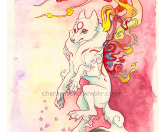 Okami Amaterasu inspired watercolor illustration- 11x14 inch print