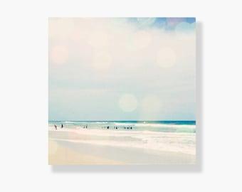 Beach photo canvas gallery wrap, coastal decor, blue, aqua, teal, beach decor, bokeh, beach wall art, ocean photography - Hazy Days