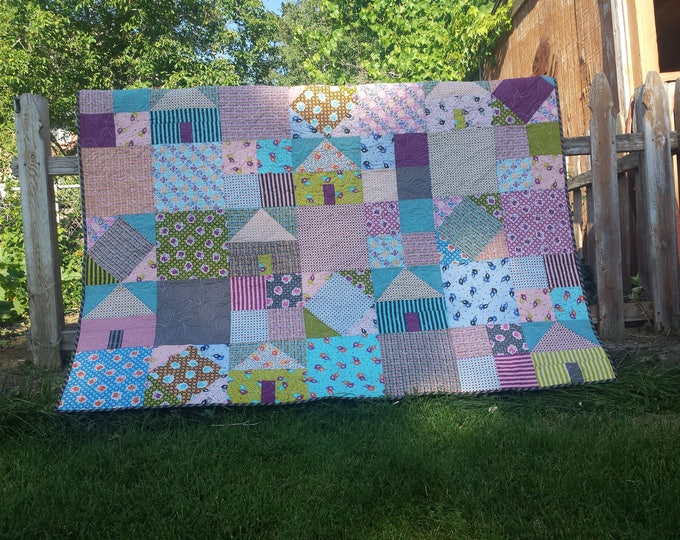 Suburbia a scrappy, house quilt pattern with square in a square and four patch blocks
