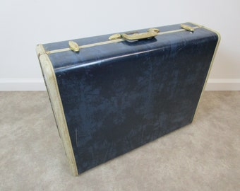 Vintage dark blue samsonite marble suitcase