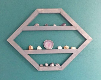 Crystal Shelf, Hexagon Shelf, Hexagon gemstone shelf, crystal display, boho decor, essential oil shelf, trinket shelf, geometric shelf