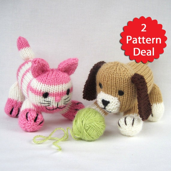 Cupcake and Muffin - 2 pattern deal - toy cat and dog knitting ...