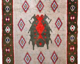 Handmade vintage Scandinavian pile rug 4.7' x 6.4' ( 143cm x 195cm ) 1950s