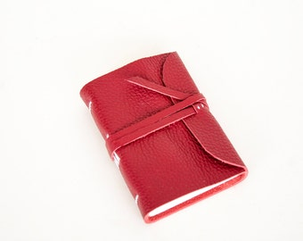 Leather Journal - Red - Leather Wrap - Handbound Blank Book - A7 - 4 x 3 - Italian Ivory Paper