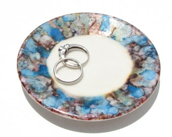 Alcohol Ink Ring Dish - Blues and Browns - Hand Painted Ring Dish - Gifts for Women - Unique Gift Ideas - Rare - One of a Kind - OOAK