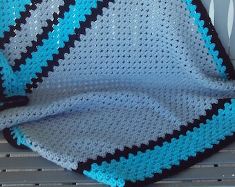 Lapghan,cover,turquoise,black,gray,seniors,babies,kids,gift,crocheted,blanket,photo's