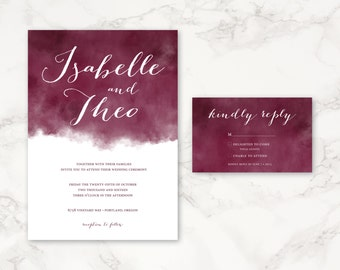 Printable Wedding Invitation - Watercolor - Customizable Colors - DIY printing
