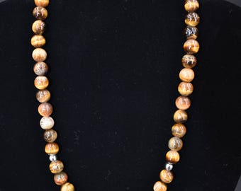 10mm Tigers Eye Necklace 18inch (Stainless Steel)
