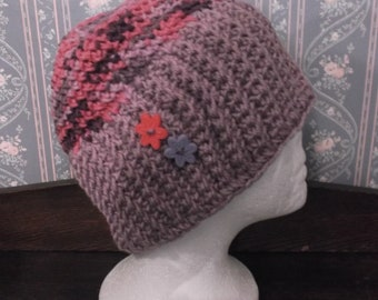 Cute And Trendy Purple/Multi Handmade Knitted/Crochet Slouch Ladies Hat