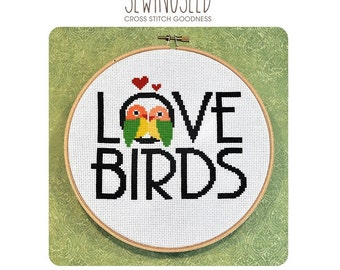Love Birds Cross Stitch Pattern Instant Download