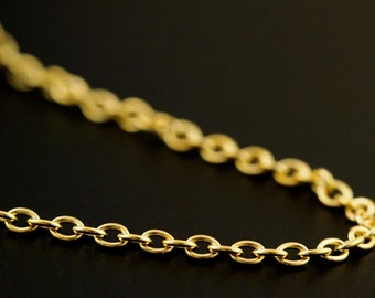 Solid Brass 2.6mm Oval Cable Chain - By the Foot or Finished with a Gold Plate Lobster Clasp  - Made in the USA