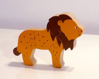 Toy: The Savannah wood 4 cards, lion Puzzle