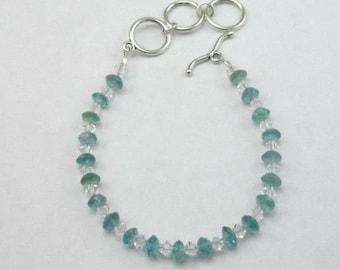 Apatite Swarovski Crystal Bracelet Adjustable Toggle Clasp