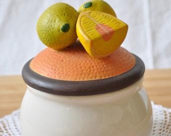 Vintage jar with lemons
