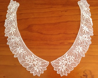 One Set of 2 White Net Lace Embroidered Collars - Floral Design