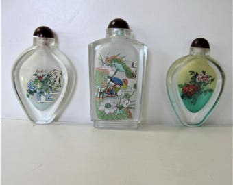 Set of 3 Vintage Reverse painted Snuff Bottles, Perfume bottles, Ducks, Swans, Peonies, Oriental Collectible glass, Asian Decor, gift idea