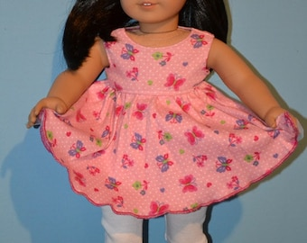 American Made Summer Twirl Dress Fits 18 Inch Girl Dolls-Baby Doll Style-Pink Butterfly Knit-White Leggings-Pink Clogs Optional-Very Girly!
