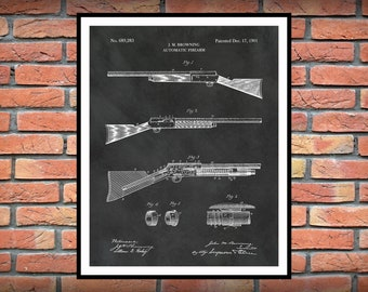 1901 Browning Automatic Rifle Patent Print - Automatic Firearm Wall Art - Automatic Weapon - WW2 Rifle - Browning BAR  - NRA Decor