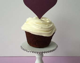 Cupcake Toppers, Heart Shape Topper, Wedding, Happy Birthday Baby Shower Toppers Purple Toppers