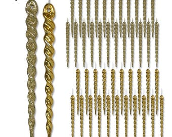 Gold Icicle Ornaments - Set of 48 Hanging Icicles - Package Includes 24 Shiny Gold Icicles & 24 Glitter Icicles - Shatterproof Icicles #3546