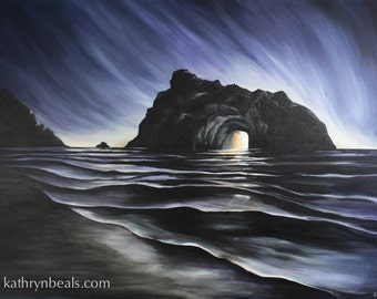 Arch Rock Sunset California Landscape Painting -  Photo Print