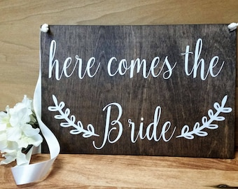 Double Sided Ring Bearer Sign-Here Comes the Bride Sign-And They Lived Happily Ever After