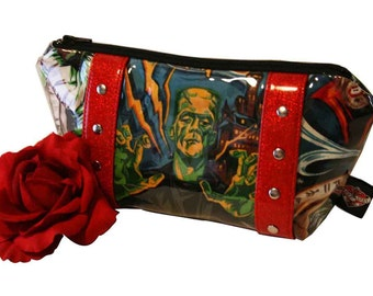 Monster Makeup Bag with Your Choice of Vinyl Trim- MADE TO ORDER