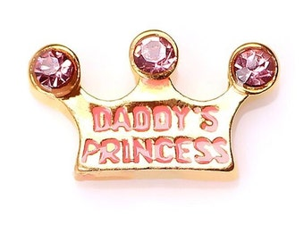 Daddy's Princess Crown Floating Locket Charm Living Memory Lockets Jewelry Making Supplies - 62c