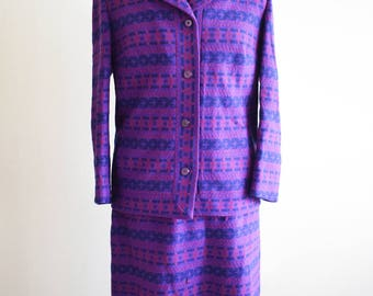 1960s Purple Welsh Tapestry Jacket and Skirt Set, Approx Size 16