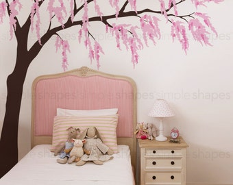 Weeping Willow Tree Decal with Cherry Blossoms, Baby Girls Nursery Wall Decal, Willow Tree Wall Decal, Nursery Decoration