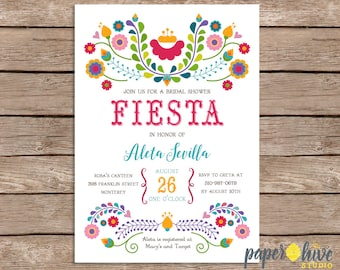 Fiesta bridal shower invitation / mexican bridal shower  / printable invitations / printed invitations