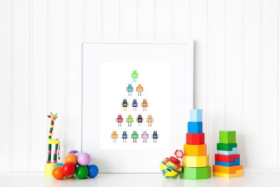 Robot Nursery Print Robot Boys Room Kids Room Decor Robot