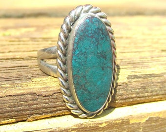 Vintage Turquoise & Sterling Silver Ring c.1970s Size 5