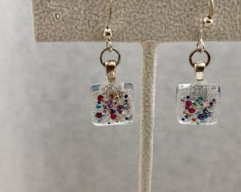 Red White Blue Glitter Glass Dangle Earrings Doodaba
