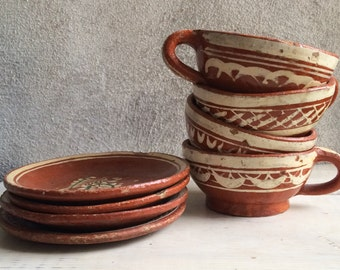 Four vintage Tlaquepaque cups saucer Mexican bandera redware collectible pottery, Mexican cup saucer