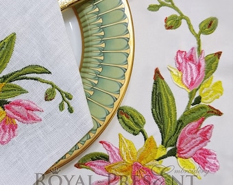 Machine Embroidery Design Tropical orchids