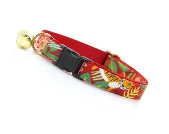 "Hawaiian Cat Collar Breakaway - ""Jungle Red"" - Rifle Paper Co® / Red Cat Collar / Summer Cat Collar - Cat, Kitten & Small Dog Sizes"